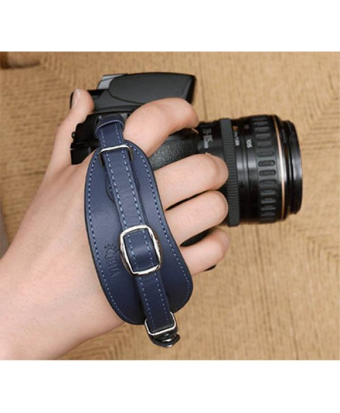 Leather Hand Strap Navy Blue