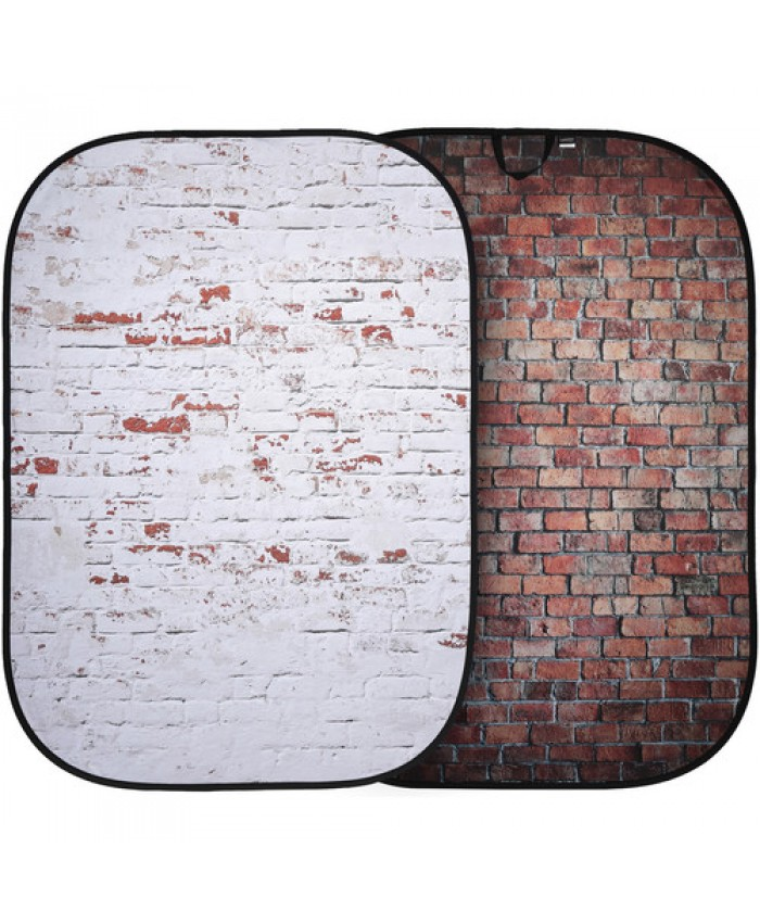 Lastolite Urban Collapsible Background 5 x 7', Red Brick/Distressed White Brick