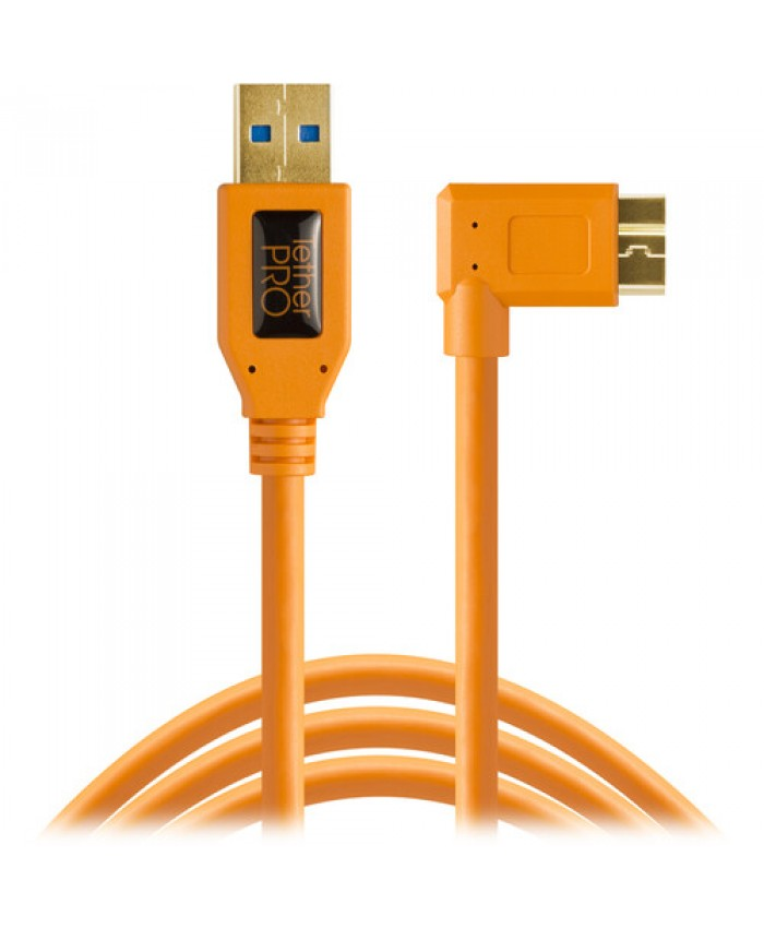 Tether Tools USB 3.0 Type-A Male to Micro-USB Right-Angle Male Cable CU61RT15-ORG
