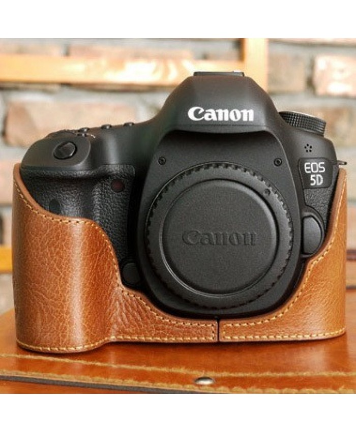for Canon 5D III Leather Jacket Brown